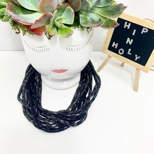 CHICO'S HOLLOW SNAKE MULTI CHAIN NECKLACE BLACK